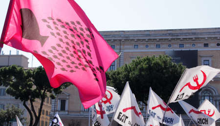 Rome - October 15 2011 - Flag hold during the demonstration against the austerity measures Editorial