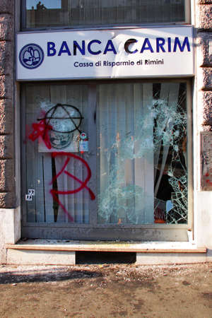 indignados: Rome - October 15 2011 - Bank attacked during the demonstration against the austerity measures