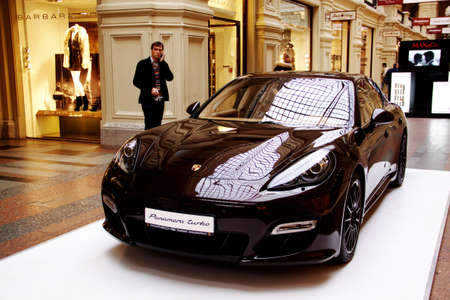 Moscow - November 14, 2011 - Porsche Panamera exposition in the GUM commercial center in Moscow