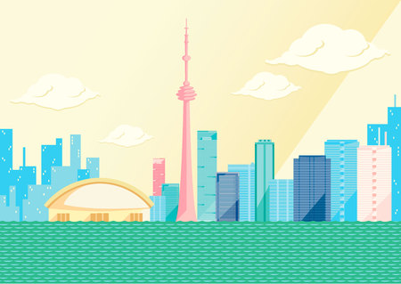 Toronto skyline by day, flat vector illustration.
