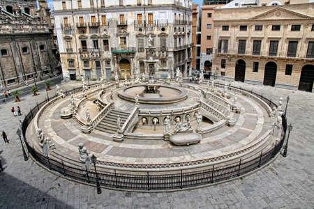 palermo italy: The fountain Pretoria, Palermo Sicily, Italy  Editorial