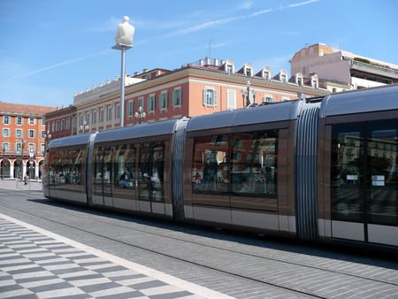 tramway: France, French Riviera, Nice. Place Massena, main square of city, large crossroads between several of main streets of city