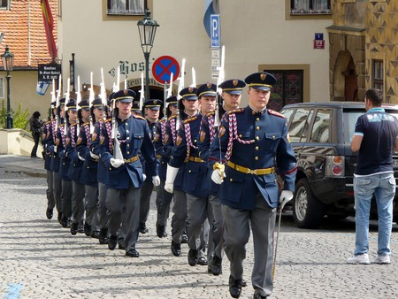 Prague, Czechia - April 28, 2008: Guard of honour of Prague Castle Stock Photo - 7241416