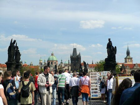 Prague, Czechia - April 28, 2008: Charles Bridge