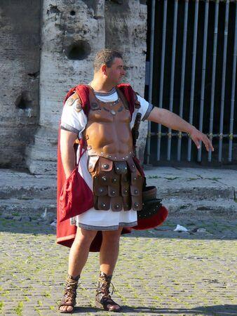 Rome, Italy - May 1, 2008: Roman legionary near to Collosseum