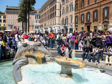 Rome, Italy - May 1, 2008: Blossoming Spanish Steps in May days