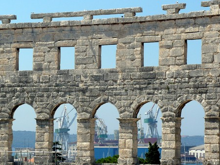 Croatia, peninsula Istria, Pula. Pula Arena, only remaining roman amphitheatre entirely preserved, among six largest surviving roman arenas in World photo