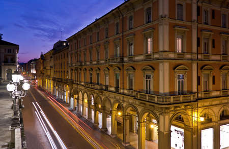 Night view of Via Independenza from Montagnola Park, Bologna, Italy Stock Photo