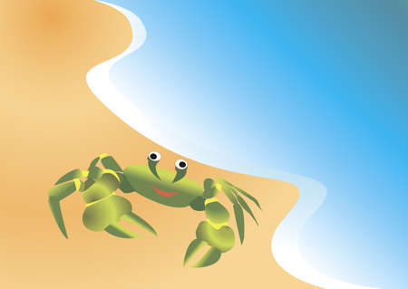 antennae: Marine crab crawled out on a sandy beach Illustration