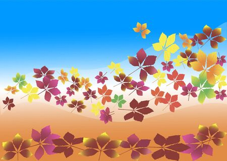 circling: autumn leaves blowing in the wind against a blue sky