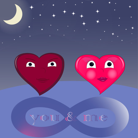 enamored: Two enamored hearts on a background of the sky, infinity Illustration