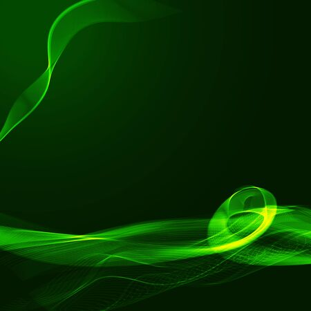 Green wavy shiny ribbon on a dark background