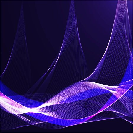Blue wavy shiny ribbon on a dark background Illustration