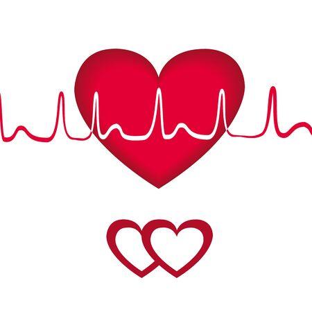 Red heart transcript. Vector Illustration EPS 10 Illustration