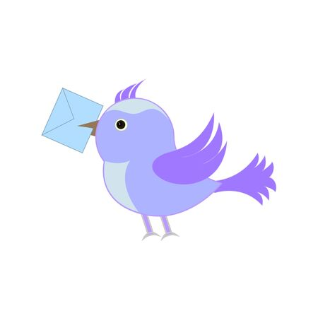 A postal bird with a letter. Vector illustration. EPS10
