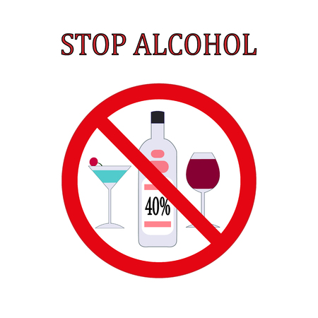 Stop alcohol red round sign Illustration