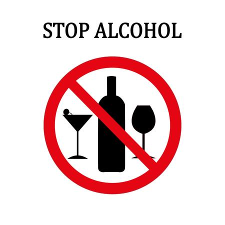 Arrêtez le signe rond d'alcool rouge