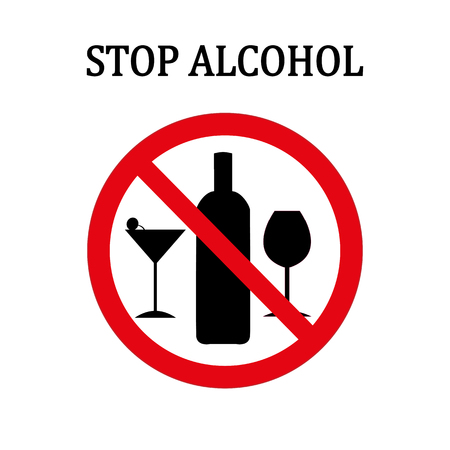 Stop alcohol red round sign