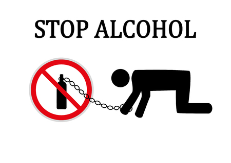 Stop alcohol red round sign vector illustration.