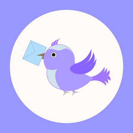 A postal bird with a letter. Vector illustration.