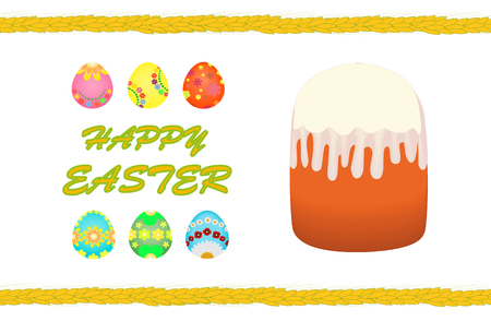 Happy Easter, Easter cake, painted eggs Vector illustration