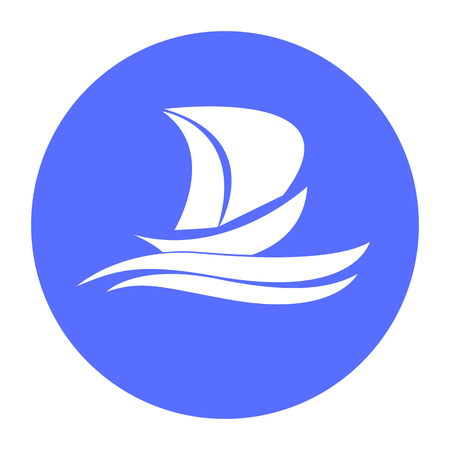 Yacht vector icon on waves, white and blue