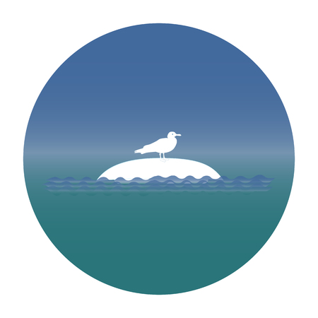Vector gull icon sitting on an inverted ship