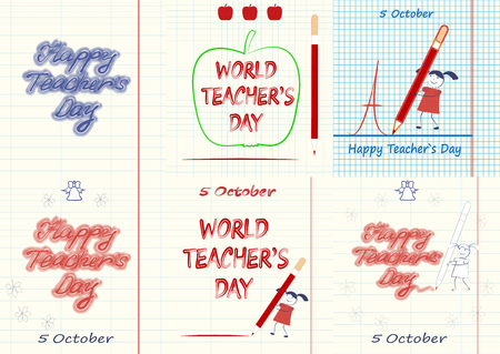 Set of World Teachers Day, Happy Teacher's Day.  イラスト・ベクター素材
