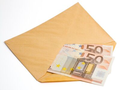 penury: Two banknotes of fifty euro inside an envelope