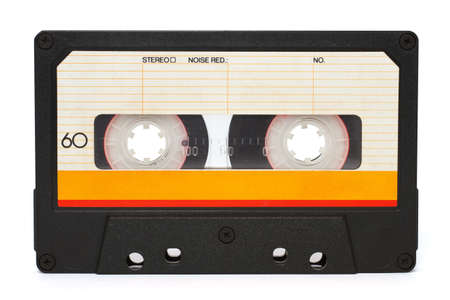 dated: Cassette tape isolated on a white background Stock Photo