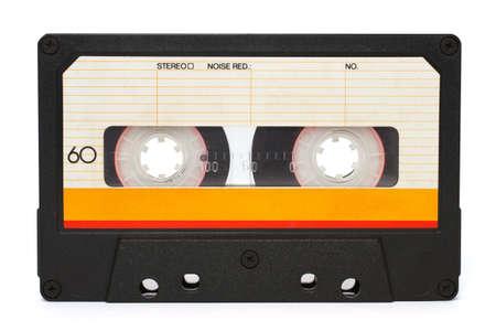 tape recorder: Cinta de cassette aislada sobre fondo blanco