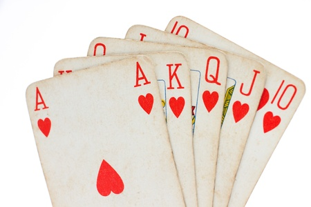 Playing cards, poker royal flush, hearts suit Stock Photo - 11545801