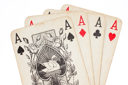 4 of a kind: Four aces of old playing cards isolated on white background
