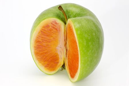 photo manipulation: Photo manipulation:  green apple with orange content