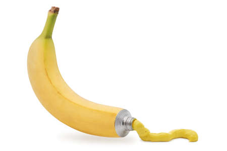 manipulation: Yellow paint coming out from a banana