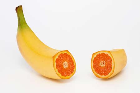 Photo manipulation   banana with orange content photo
