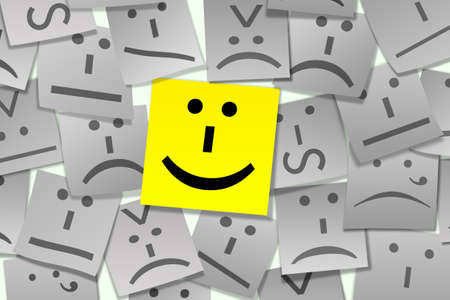 Stylized Sticky Notes with emoticon on it photo