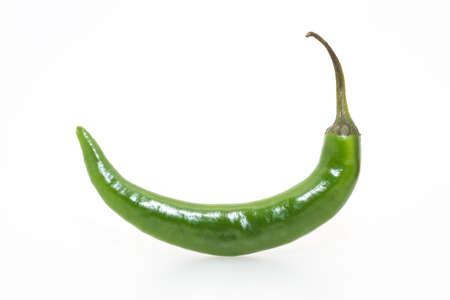 piquancy: Single green hot pepper on  white background