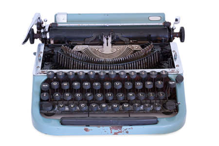 disuse: Old used typewriter on a white background
