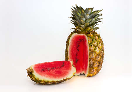 Photo manipulation  pineapple with watermelon content