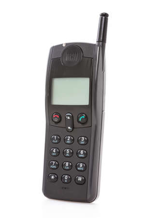 disuse: Old used mobile phone on white background