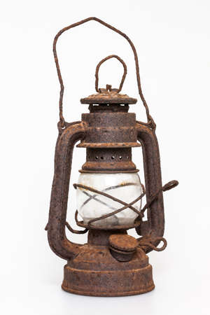 kerosene lamp: Very old rusty oil lantern
