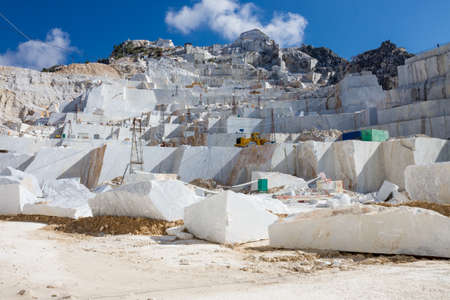 white marble: Carraras marble quarry landscape in Italy Stock Photo