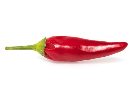 piquancy: Single red hot pepper on  white background