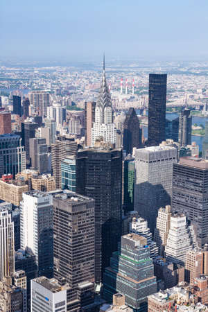 chrysler building observation deck. panoramic view of midtown manhattan as seen from the empire state building observation deck in chrysler s