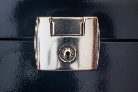metal fastener: Close-up shot of a closed lock