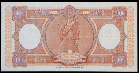 numismatic: Old italian ten thousand lira banknote, issued from 1948 to 1963 - Back