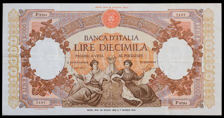 numismatic: Old italian ten thousand lira banknote issued from 1948 to 1963 - Front