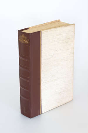 old page: Old single book standing upright on white background Stock Photo