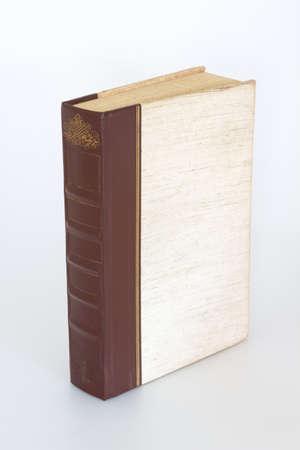 libros viejos: Viejo solo libro de pie sobre fondo blanco